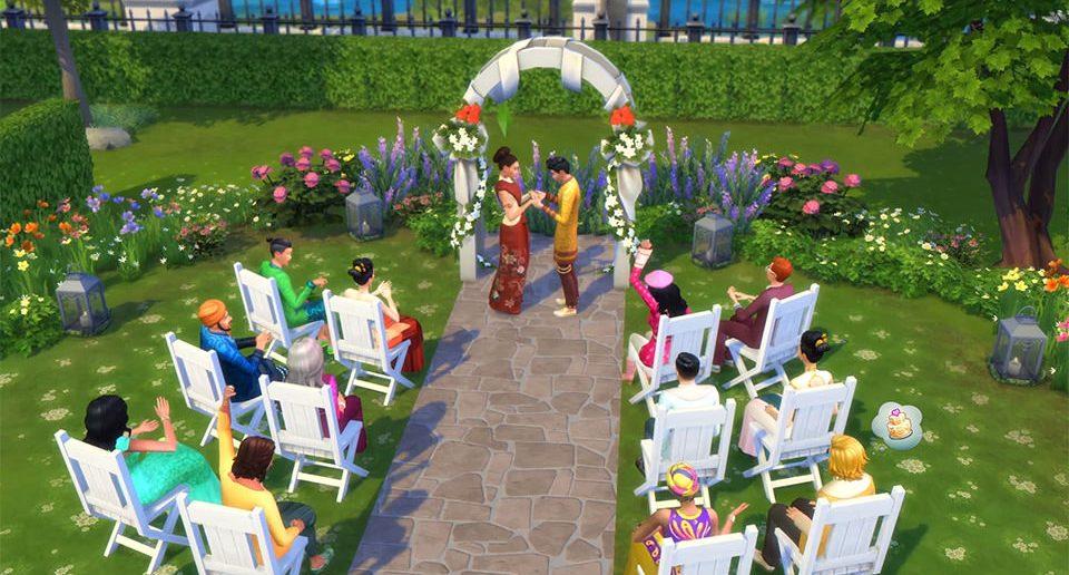 De Sims Stedelijk Leven trouwen in het park