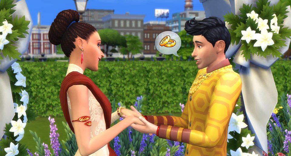 De Sims 4 Stedelijk Leven bruiloft in het park