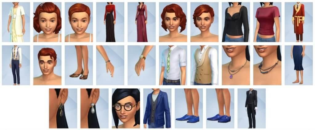 Sims 4 Vintage Glamour Accessoires CAS overzicht