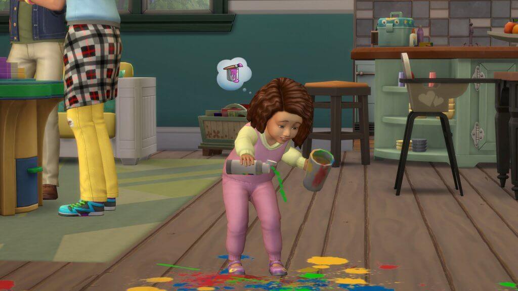 Sims 4 Ouderschap peuter die speelt met verf