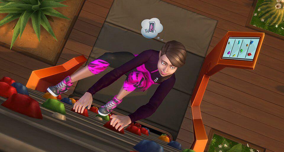 Sims 4 Fitness accessoires klimmuur beklimmen