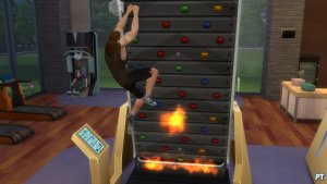 Sims 4 Fitness accessoires review klimmuur uitdaging met vuur