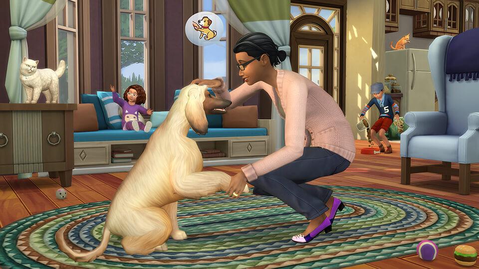 Sims 4 Honden en Katten - hond die pootje geeft