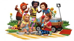 Sims 4 Peuter Accessoires render Peuters die picknicken